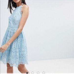 ASOS DESIGN Tall pinny prom mini dress in lace